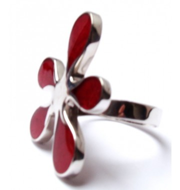Koraal Bloem Ring Zilver