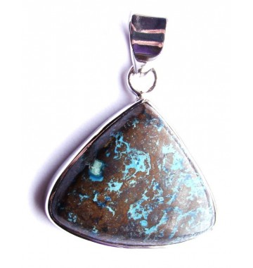 Chrysocolla in Zilver hanger triangle