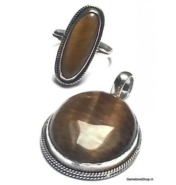 Tijgeroog Ovaal in Ring Zilver 18