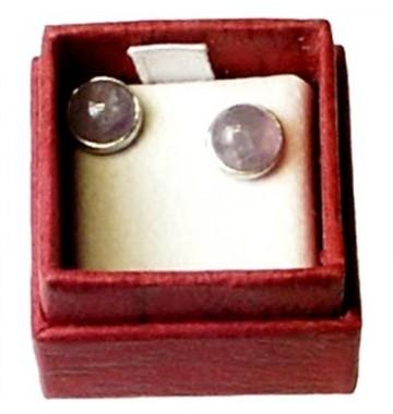 Amethist Oorstekers zilver 6mm