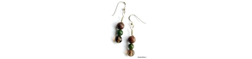 hanging earrings with gemstones or precious stones