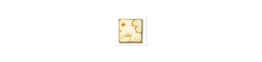 white dog healing stones